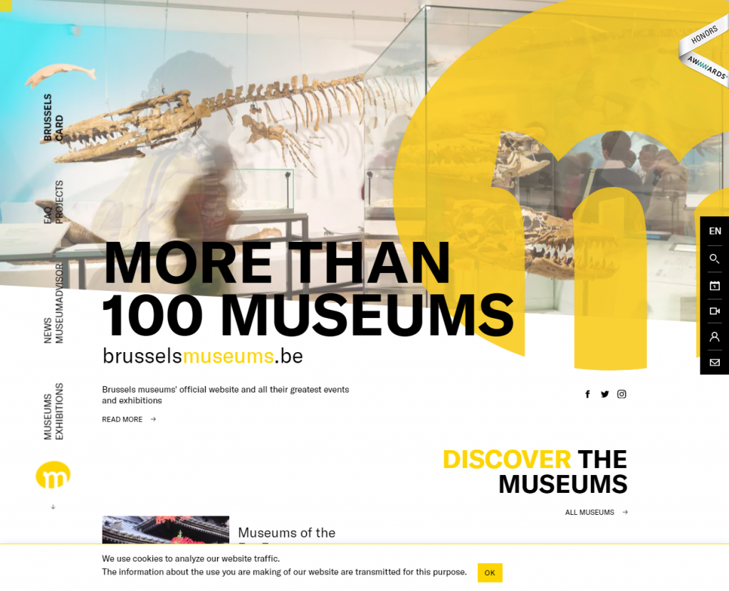 Strong typography used on the Brussels Museums website (www.brusselsmuseums.be)